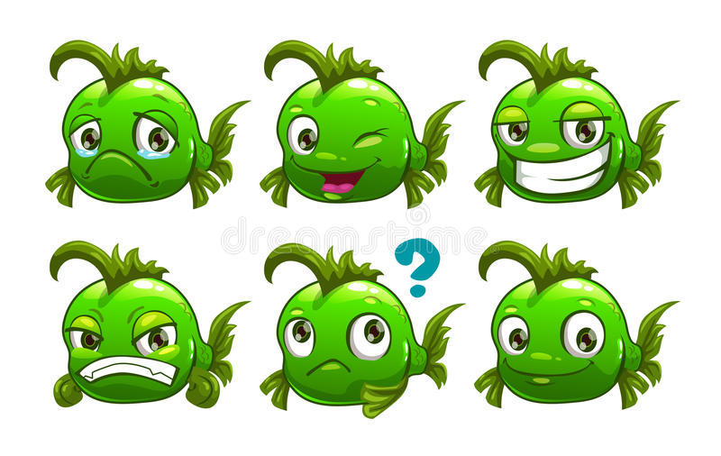 Funny cartoon green fish. Character with different emotions on the face. Vector set. Isolated on white vector illustration