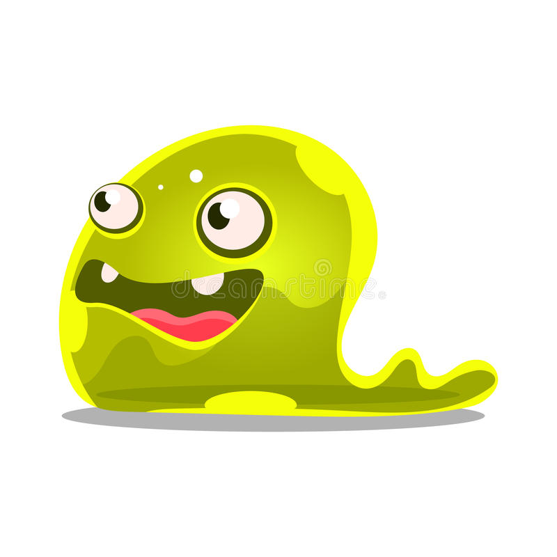 Funny cartoon green slimy monster. Cute jelly colorful character vector Illustration vector illustration
