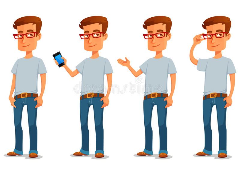 Funny cartoon guy in casual clothes stock illustration