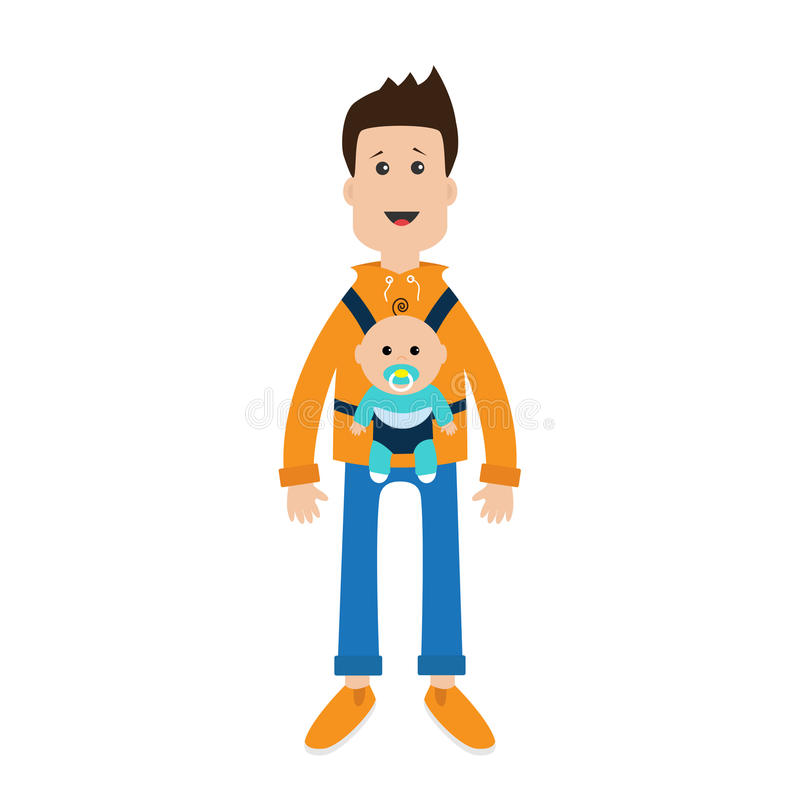 Funny cartoon guy Cute male character holding boy son in baby carrier sling. Father parent take care of child. Casual dress style stock illustration