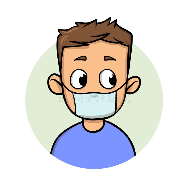 Funny cartoon guy wearing medical mask for respiratory disease protection. Cartoon design icon. Flat vector illustration royalty free illustration