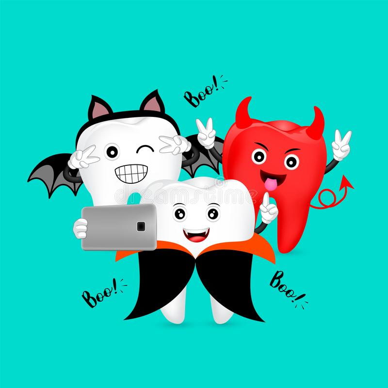 Free Funny Cartoon Halloween Tooth Character Taking Selfie. Royalty Free Stock Photos - 160872058