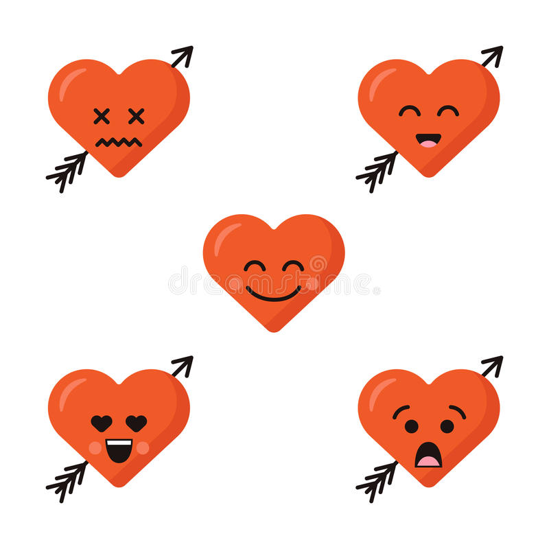 Funny cartoon heart character emotions set, vector icons, isolated on white. vector illustration