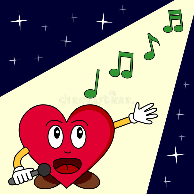 Funny Cartoon Heart Singing vector illustration