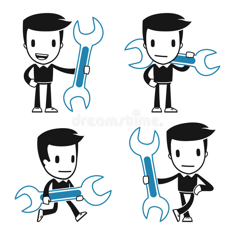 Download Funny cartoon helper man stock illustration. Image of occupation - 26265219