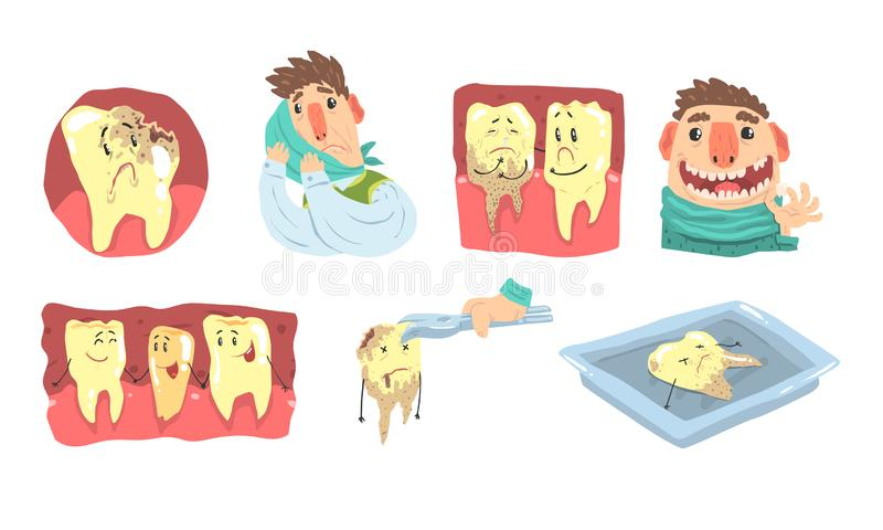 Funny Cartoon Humanized Sick And Healthy Teeth Illustration Set Isolated On White Background stock illustration