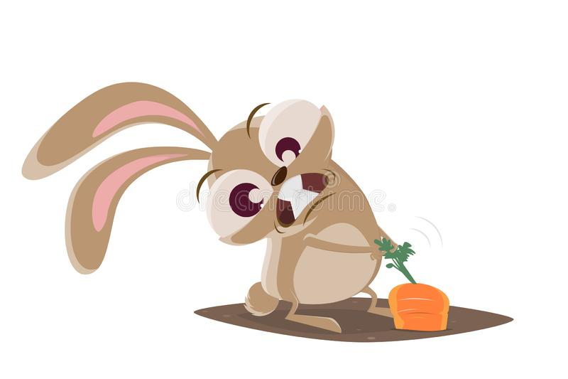 Funny cartoon illustration of a crazy rabbit pulling on a carrot stock illustration