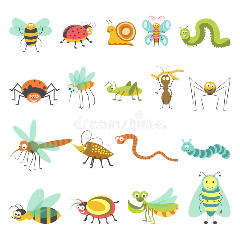 Funny cartoon insects and bugs vector isolated icons royalty free illustration