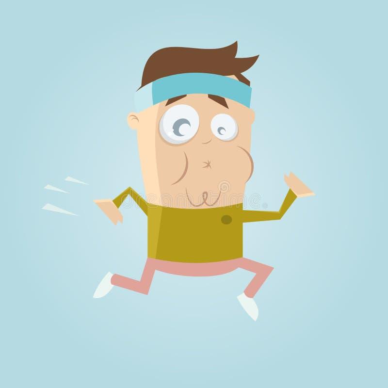 Funny cartoon jogger. Illustration of a funny cartoon jogger royalty free illustration