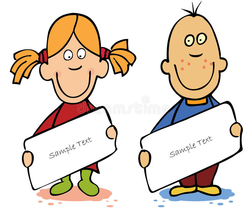 Download Funny Cartoon Kids With Empty Blank Stock Vector - Illustration: 20148450