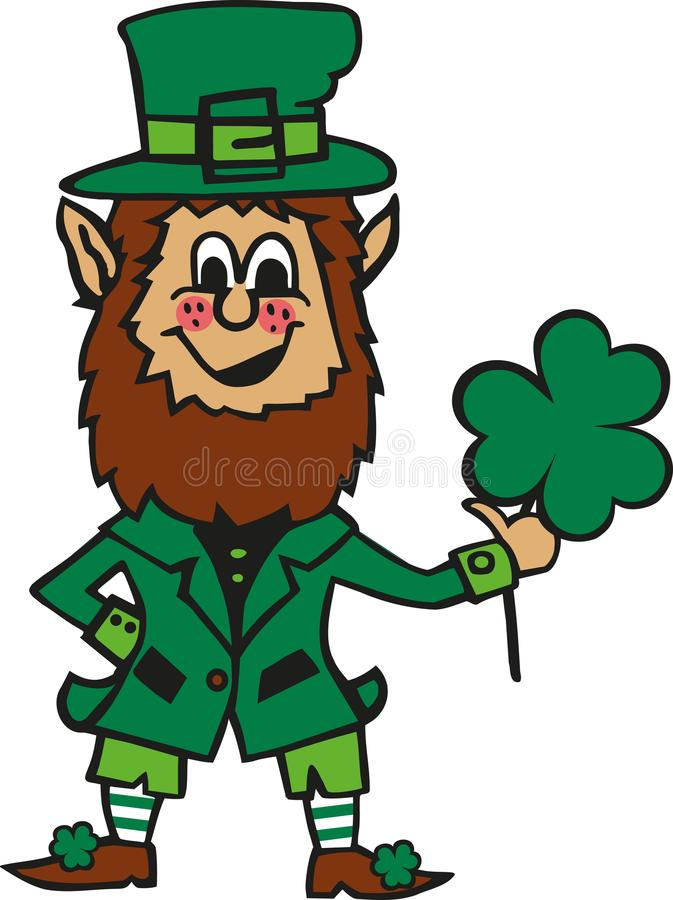 Funny cartoon leprechaun with clover in his hand royalty free illustration