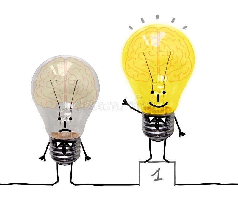 Funny Cartoon Light Bulbs with Brains royalty free illustration