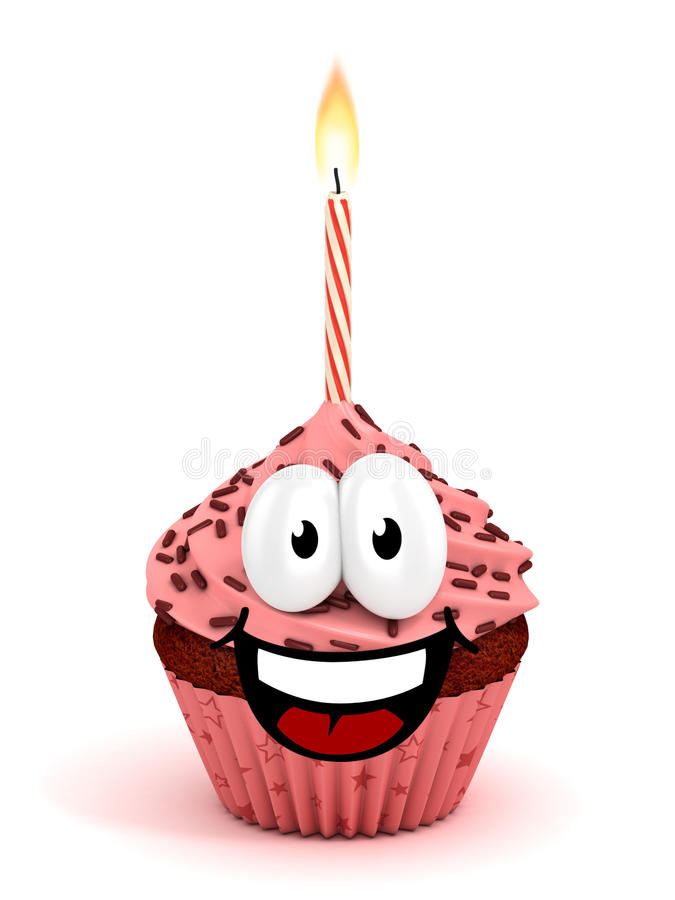 Funny cartoon like cupcake 3d rendering royalty free illustration