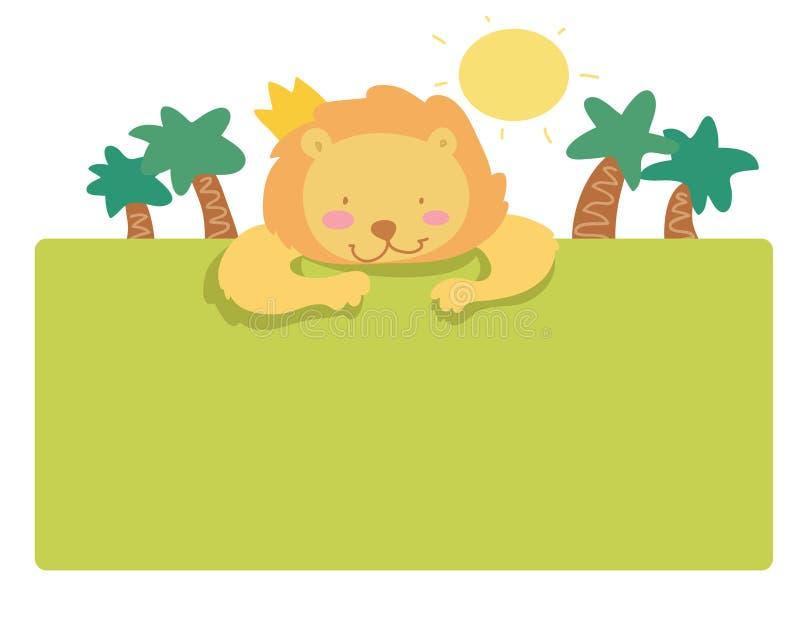 Funny cartoon lion page vector illustration