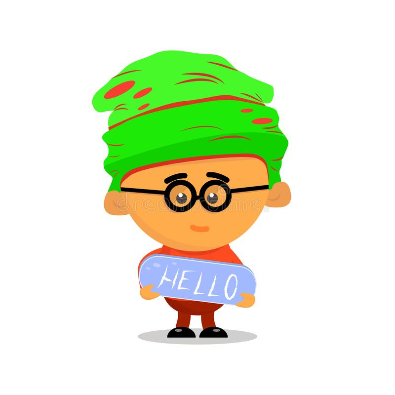 Funny cartoon little boy in glasses and a hat with a blue sign Hello. Flat vector illustration royalty free illustration