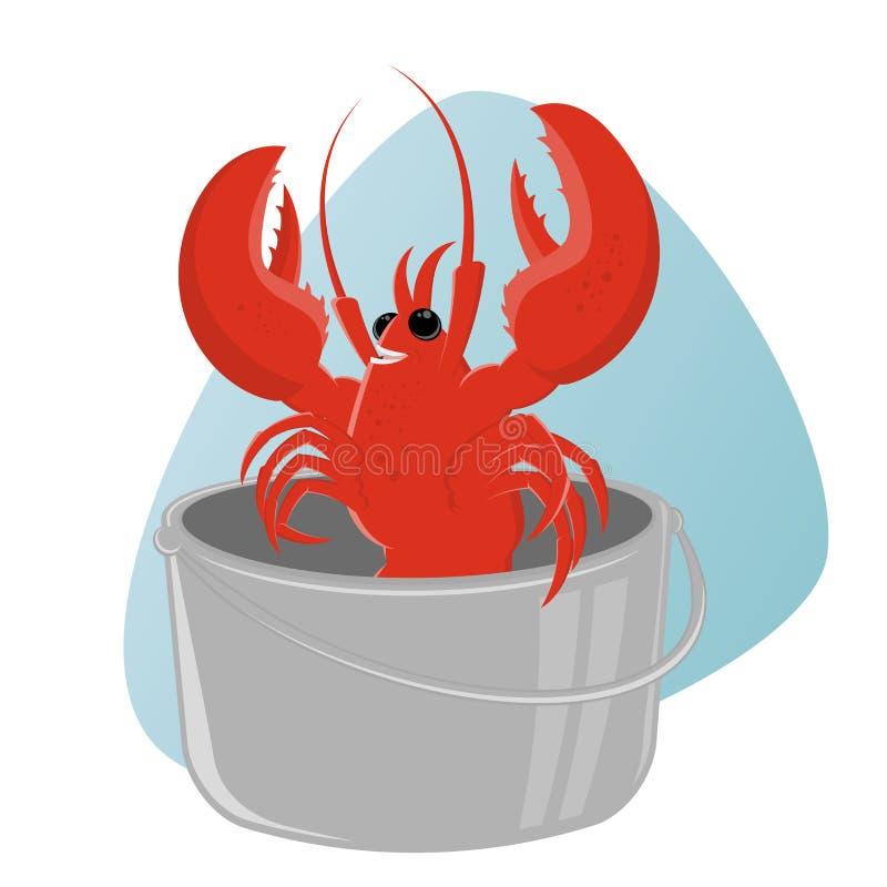 Funny cartoon lobster in pot vector illustration