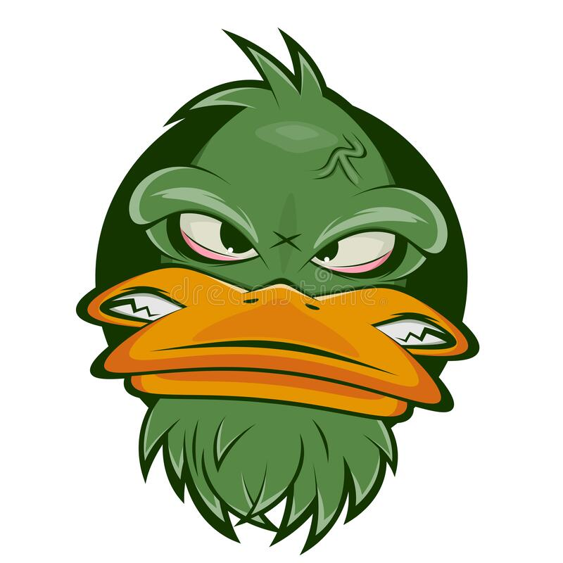 Funny cartoon logo of an angry duck. Funny cartoon logo of an angry green duck royalty free illustration