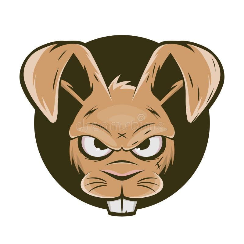 Funny cartoon logo of an angry rabbit. Cartoon logo of an angry rabbit stock illustration