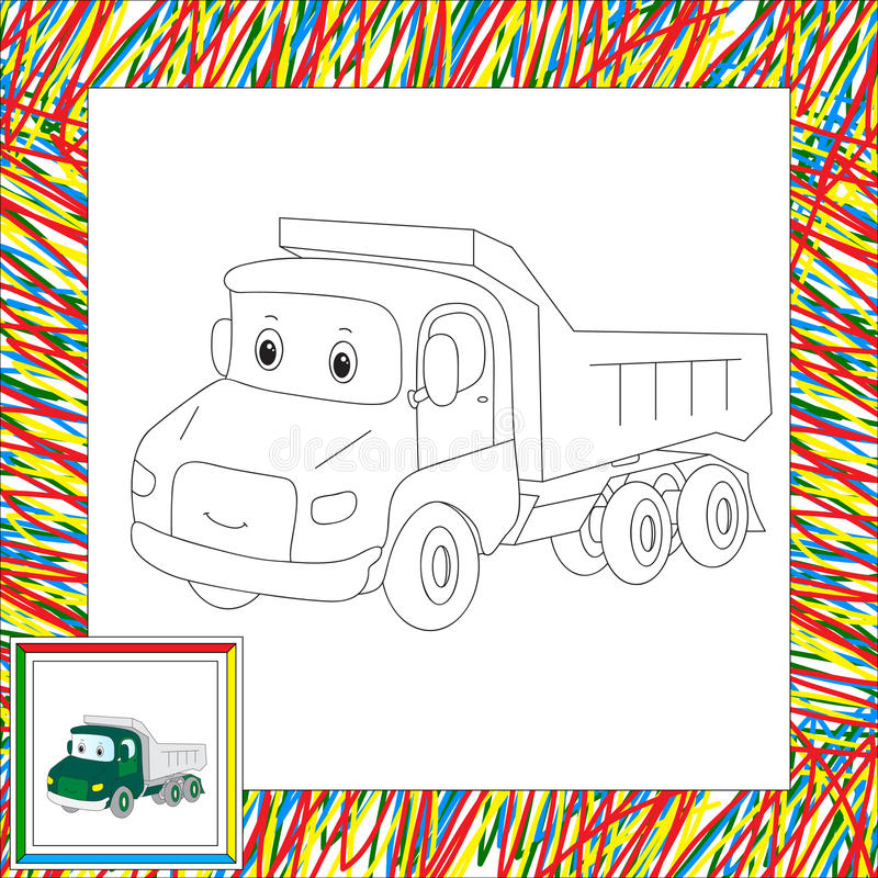 Funny cartoon lorry. Coloring book for kids. Vector illustration royalty free illustration