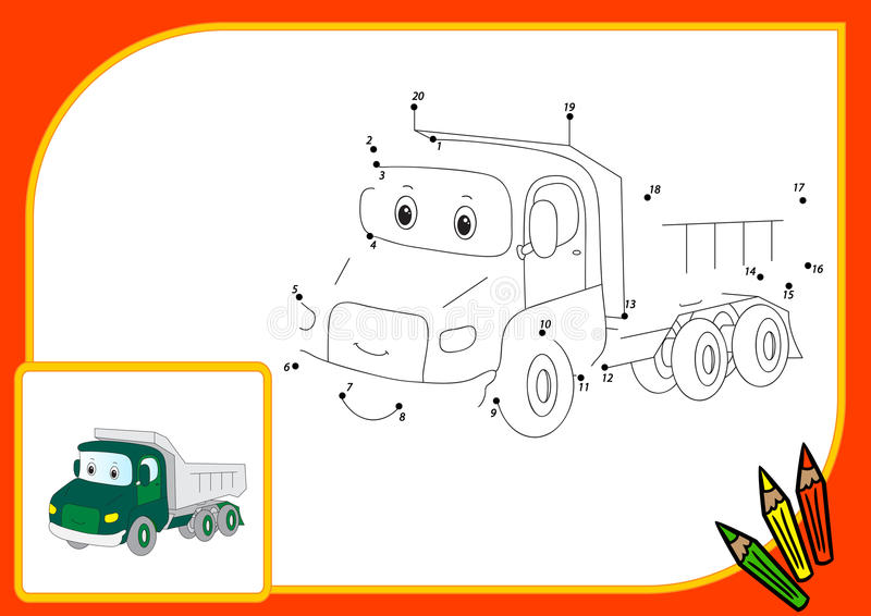 Funny cartoon lorry. Connect dots and get image. Educational gam. E for kids. Vector illustration vector illustration