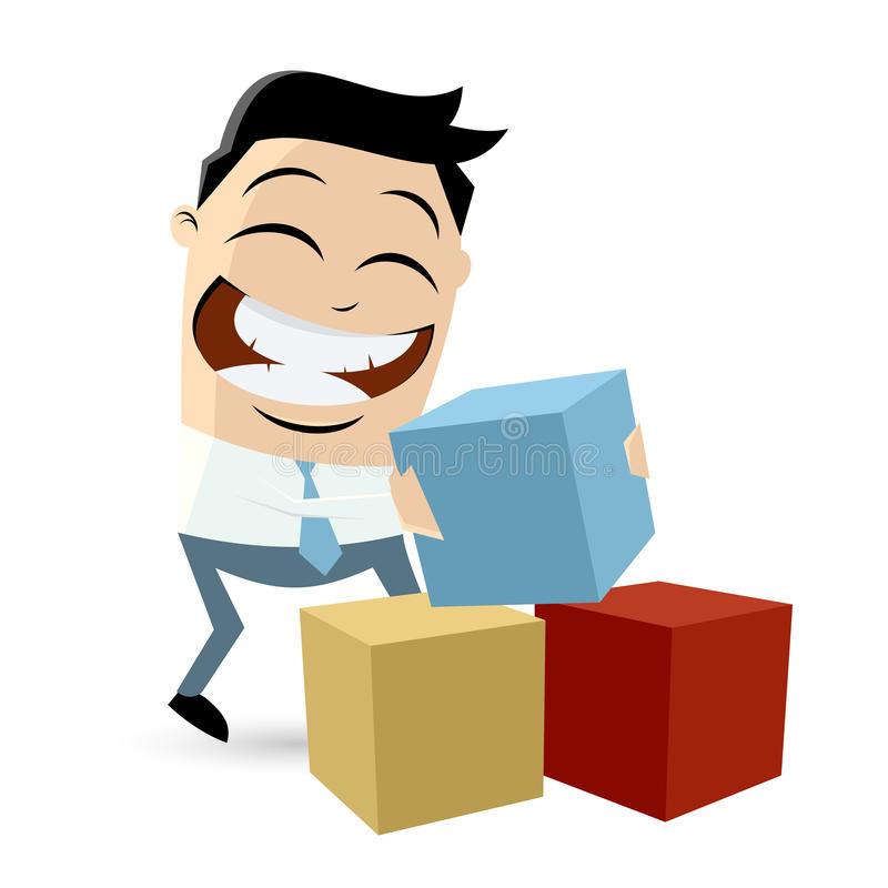 Funny cartoon man with colorful blocks stock illustration