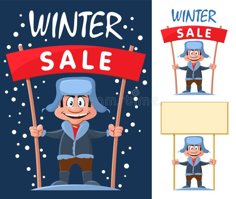 Funny cartoon man holds Winter sale banner and blank banner. stock illustration