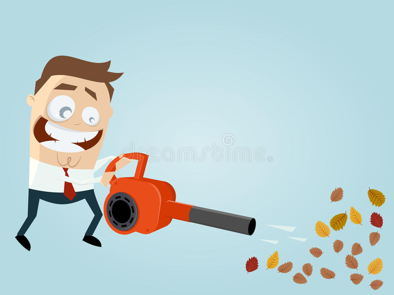 Funny cartoon man with leaf blower stock illustration