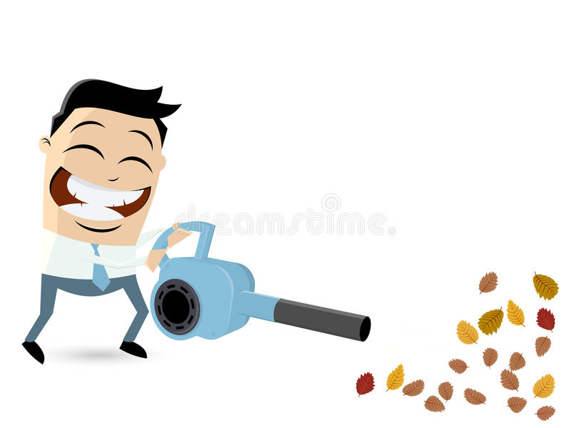 Funny cartoon man with leaf blower. Illustration of a funny cartoon man with leaf blower vector illustration