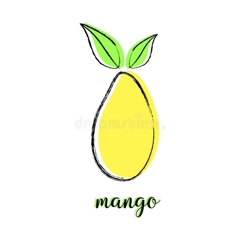 Cartoon mango on white royalty free illustration