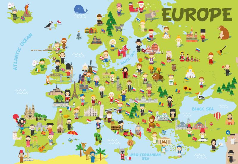 Funny cartoon map of Europe with childrens, representative monuments, animals and objects of all the countries stock illustration
