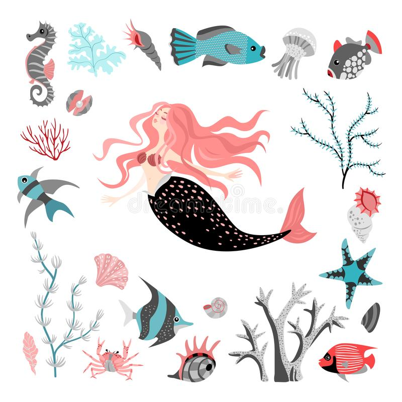 Funny cartoon mermaid surrounded by tropical fish, animal, seaweed and corals. Sea life. Set of cute isolated vector illustrations on white background stock illustration