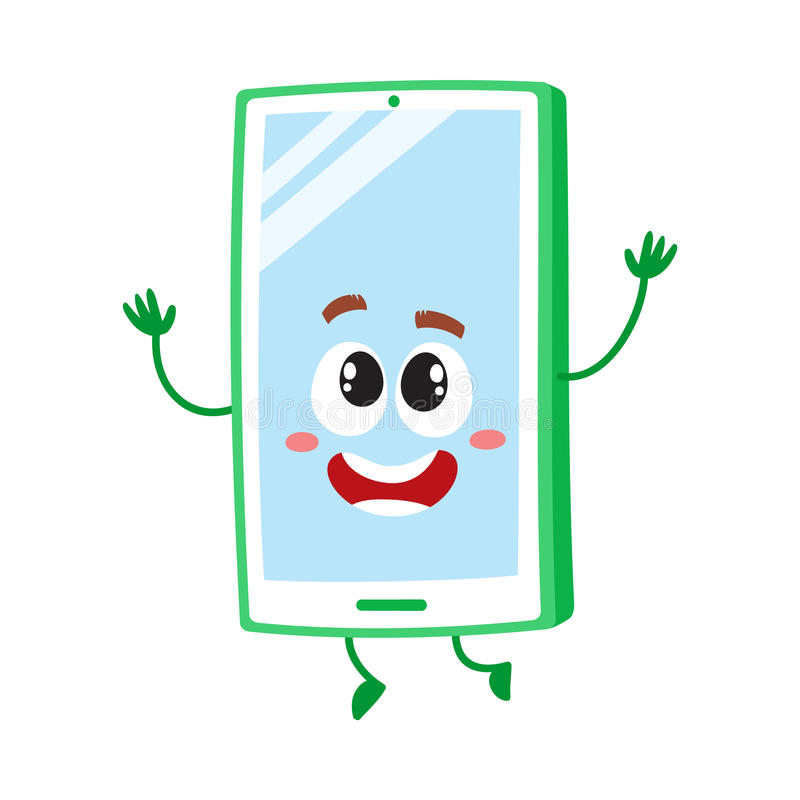 Funny cartoon mobile phone, smartphone character raising hands in awe. And delight, vector illustration isolated on white background. Excited cartoon mobile stock illustration