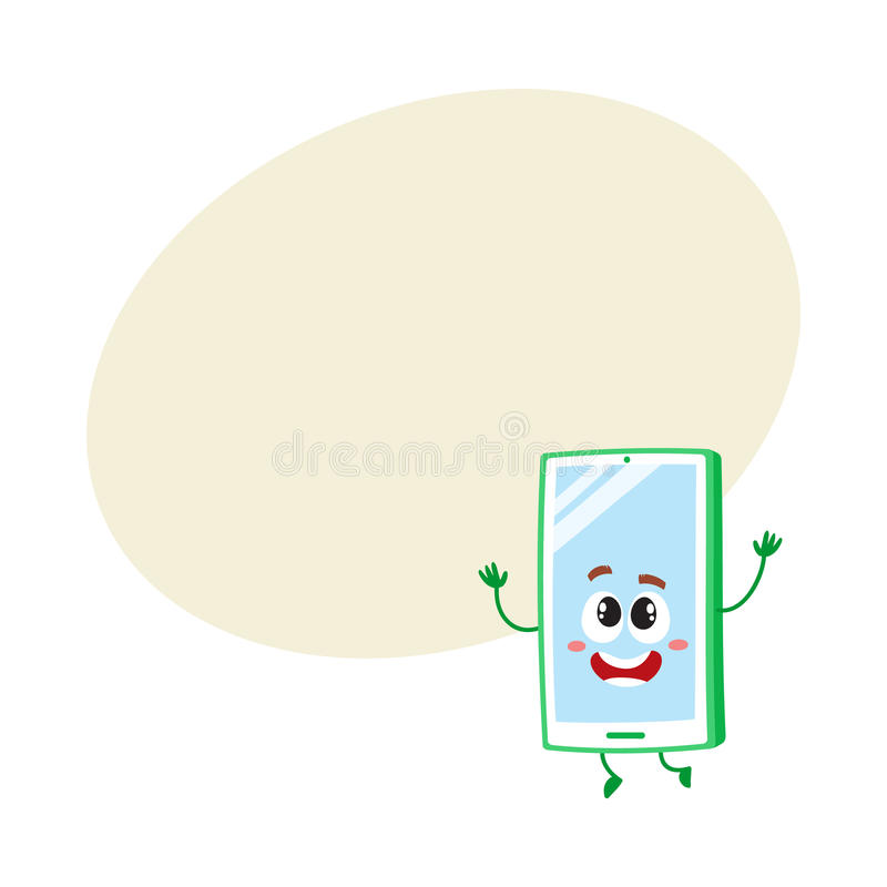 Funny cartoon mobile phone, smartphone character raising hands in awe. And delight, vector illustration with space for text. Excited cartoon mobile phone vector illustration
