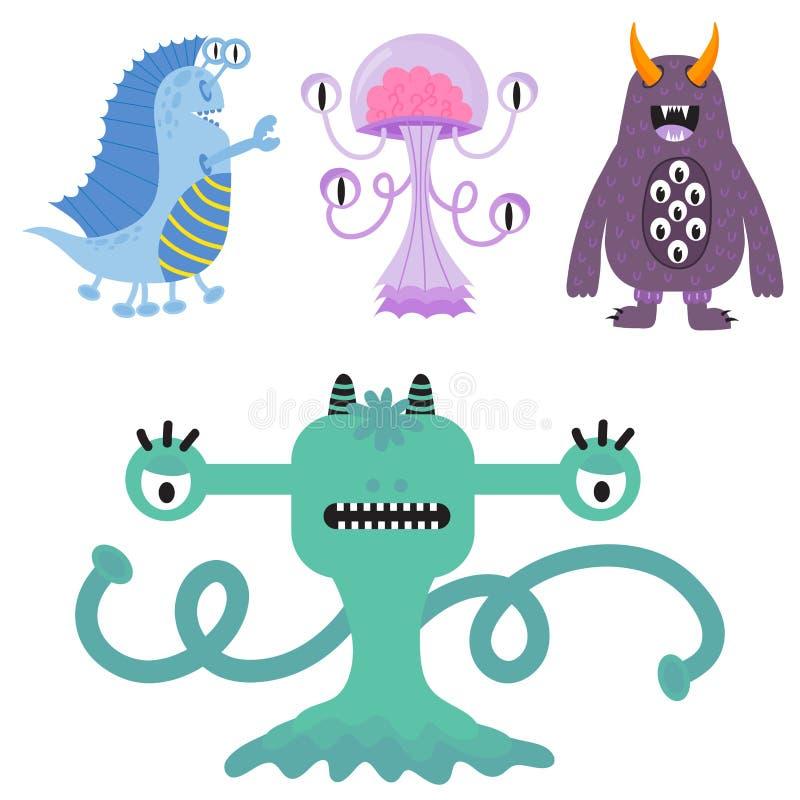 Funny cartoon monster cute alien character creature happy illustration devil colorful animal vector. vector illustration