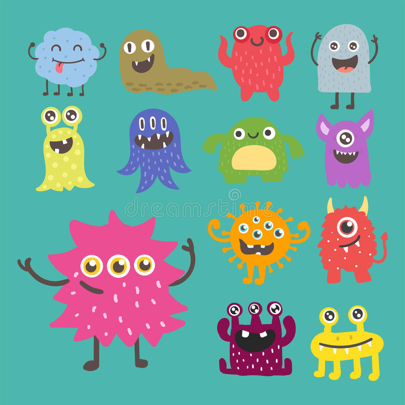 Funny cartoon monster cute alien character creature happy illustration devil colorful animal vector. royalty free illustration