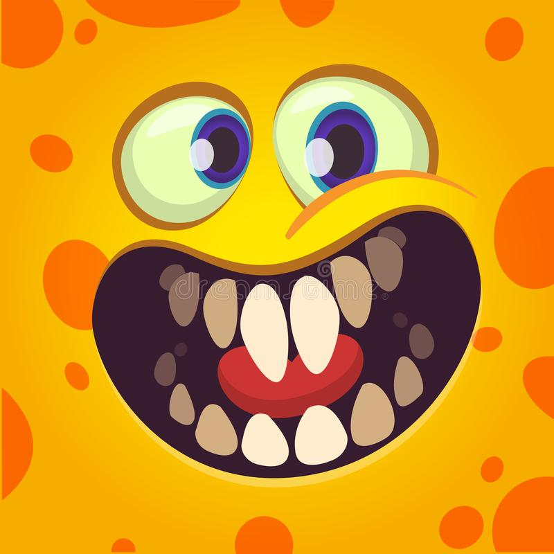 Funny cartoon monster face avatar with a big smile full of teeth.  vector illustration