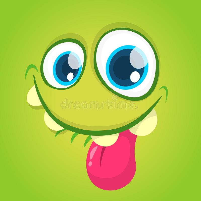 Funny vector cartoon monster face with big eyes showing tongue. Vector Halloween green monster. Funny cartoon monster face with big eyes showing tongue. Vector vector illustration