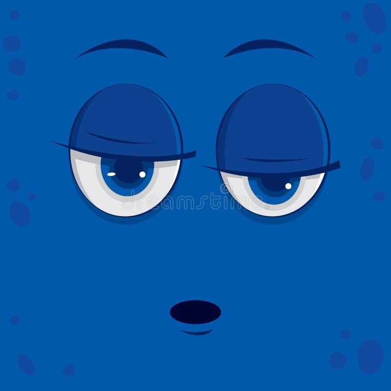 Funny cartoon monster face. Illustration stock illustration