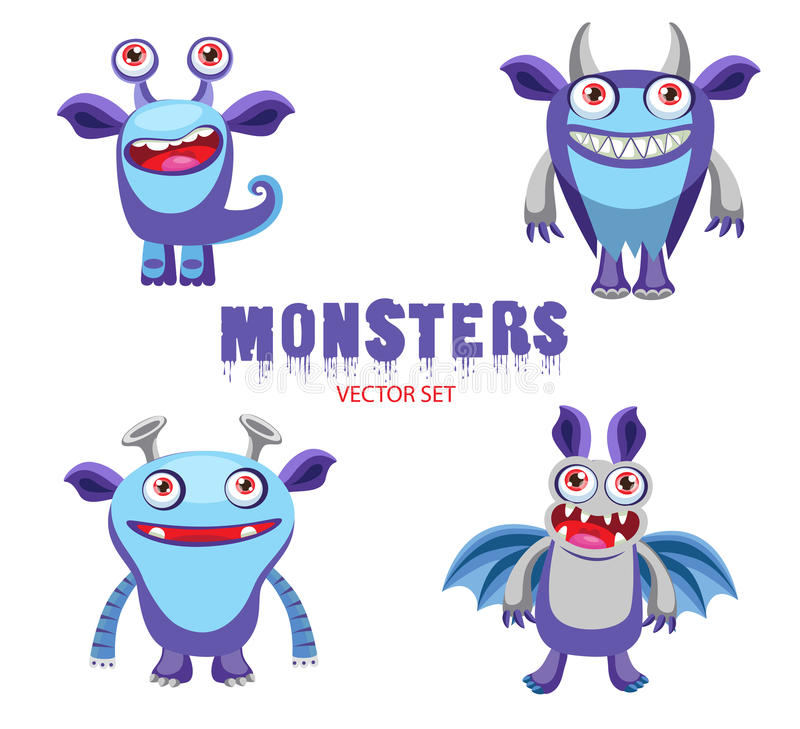 Cute Monster Vector Cartoon Monster Mascot Vector Illustration Funny Fantastic Animals Stock Vector Illustration Of Hair Emoticon 74443202