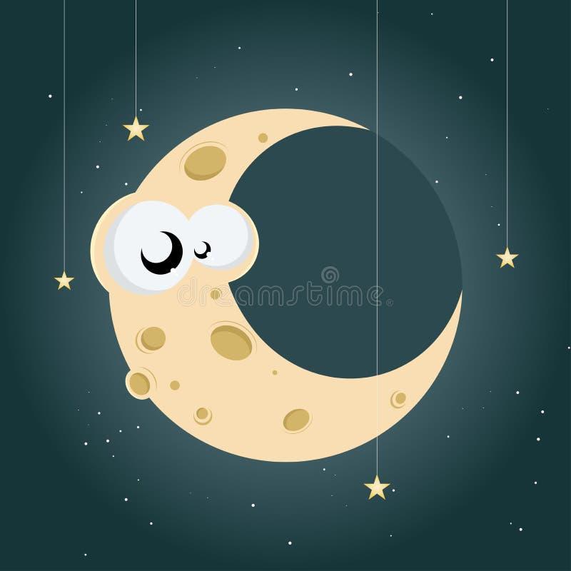 Funny cartoon moon royalty free illustration