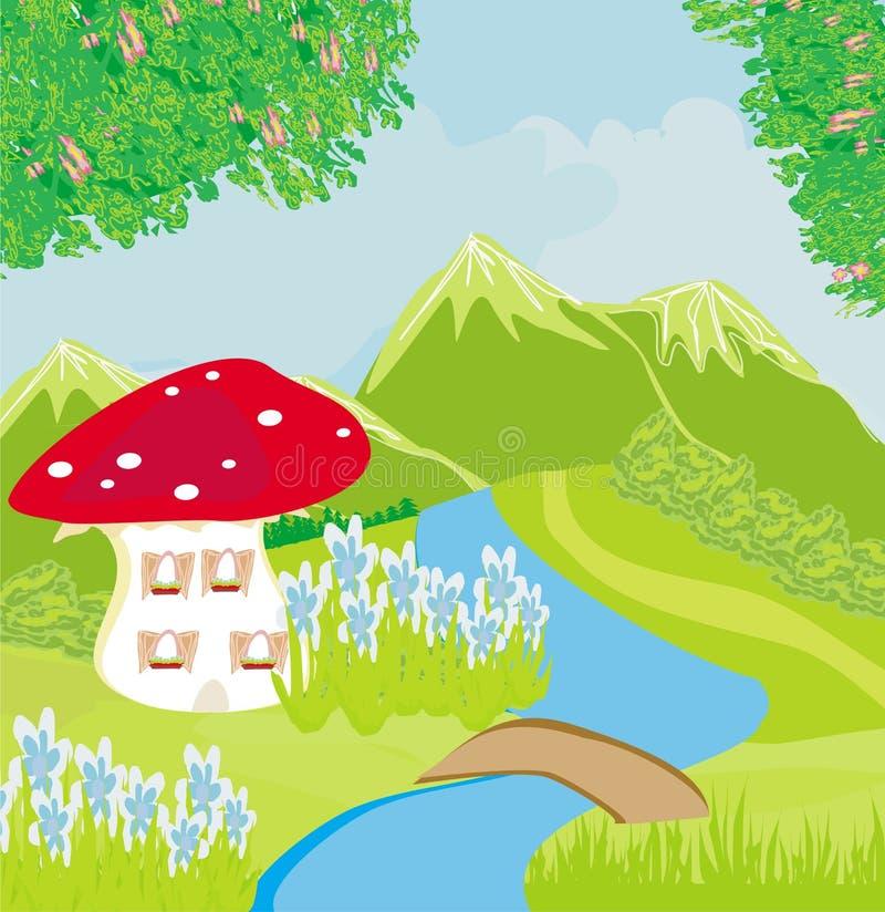 Funny cartoon mushroom house stock illustration