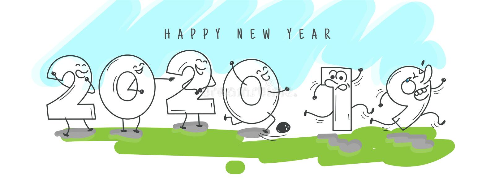 Funny cartoon number of 2020 welcome happy new year and going 2019. royalty free illustration