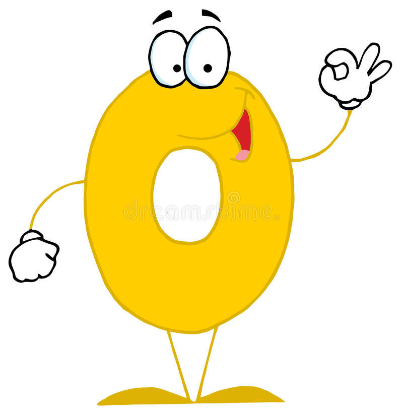 Free Funny Cartoon Numbers-0 Stock Image - 13023101