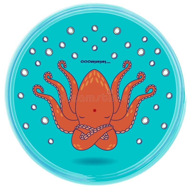 Funny cartoon octopus singing om mantra - animal yoga series vector illustration