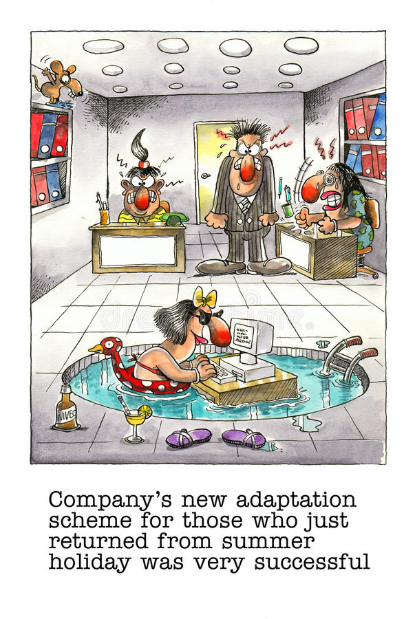 Funny Cartoon About Office Life Stock Illustration