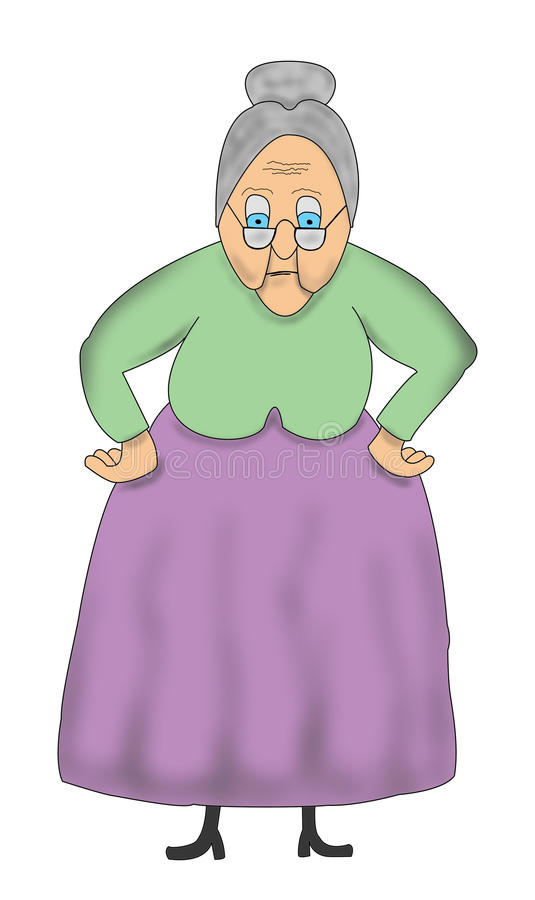 Funny Cartoon Old Grandma, Granny Illustration. Funny cartoon grandma, granny illustration. Grandmother has her hands on her hips and is giving you that old lady stock illustration