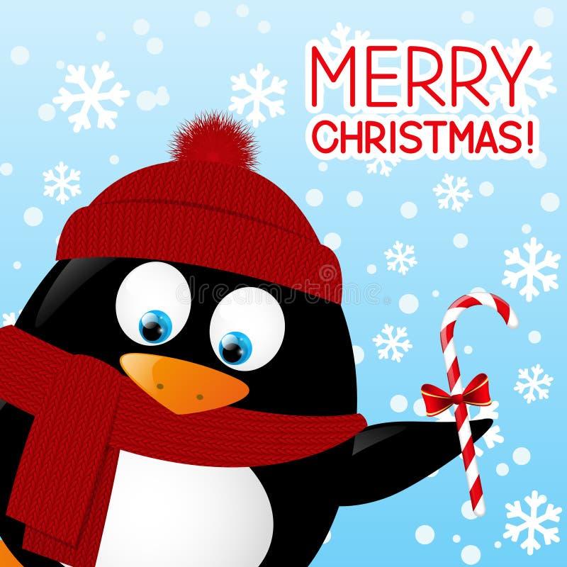 Funny cartoon penguin. On winter background vector illustration