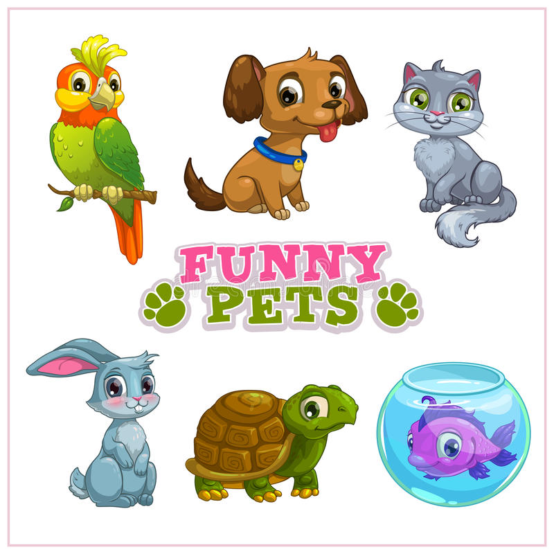 Funny cartoon pets collection stock illustration