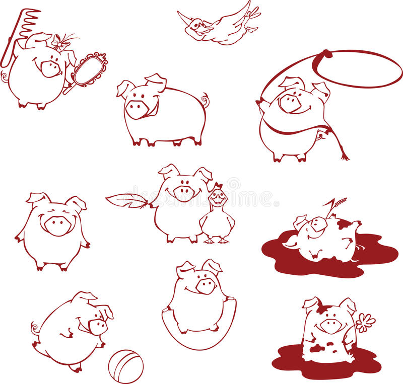 Funny cartoon pigs having fun, playing and fooling around. royalty free illustration