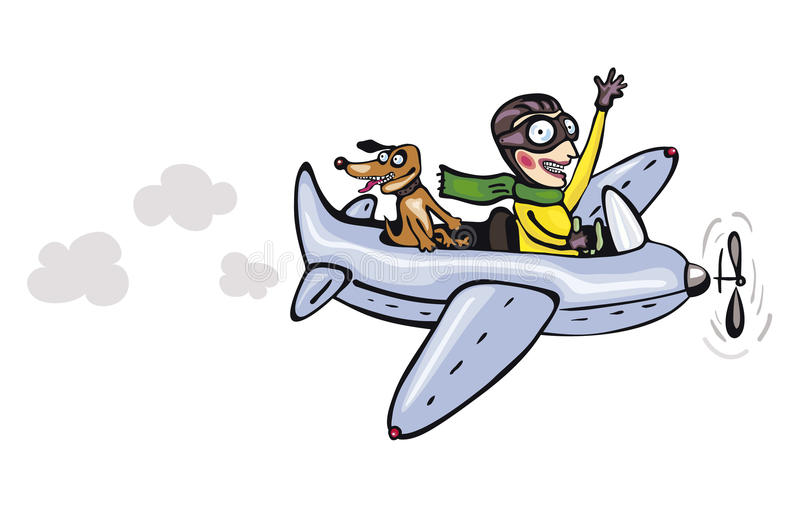 Download Funny Cartoon Pilot And Dog Royalty Free Stock Images - Image: 21445279